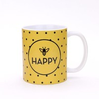 Bee Happy - Ceramic Coffee Tea Mug - 11-oz