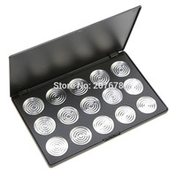 15 PCS 36mm Empty Eyeshadow Aluminum Pans with Palette Makeup Tools Cosmetics DIY Box