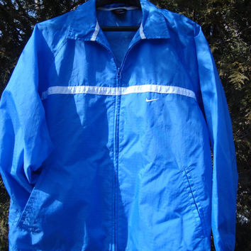 Vintage Nike Windbreaker Light Blue and White Stripe Jacket 90s - MORE Nike Gear in the Fleece 'n Stuff Shop! Check it out.