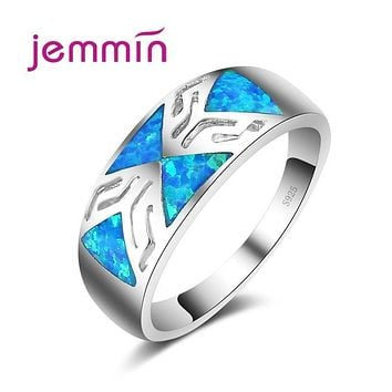 Jemmin Blue Geometric Fire Opal Ring 925 Sterling Silver Jewelry Wedding Party Rings For Women Men Bijoux 2017