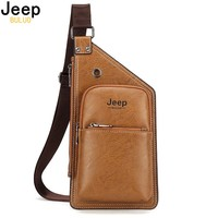 JEEP BULUO Famous Brand Theftproof Leather Mens Chest Bags Fashion Travel Crossbody Bag Man Messenger Bag 8006