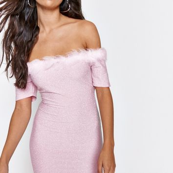 Bardot Mini Dress With Marabou Feather Trim