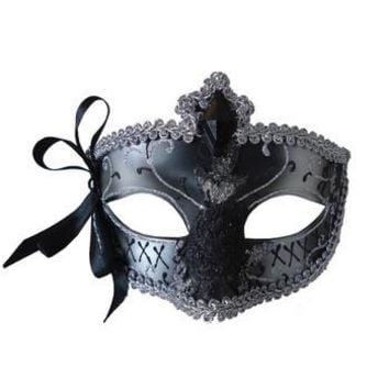 MARDI GRAS EYE MASK SILVER BLACK