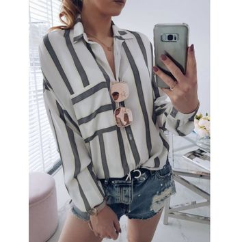 New Spring Fashion Long Striped/white Button Casual Women tops and Blouses Sleeve Turn Down Collar Shirt Vintage OL Tops