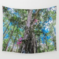Orchids in the Tree Wall Tapestry by Gwendalyn Abrams