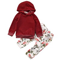 2017 Newborn Baby Clothing Set Infant Baby Girl Hoody Sweatshirt Tops +Floral Pant 2PCS Outfit Bebek Giyim Toddler Kids Clothing