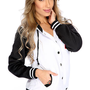 White Black Button Up Sport Patch Letterman Jacket