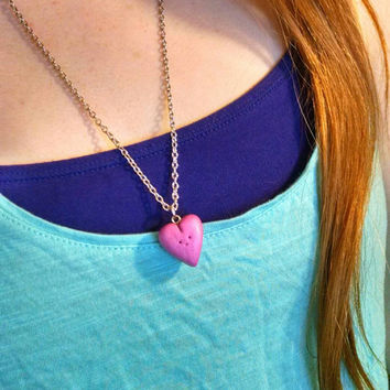 Happy Heart Charm Pendant Chained Necklace