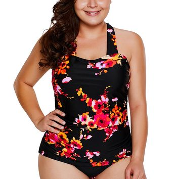 Black Floral Print Halter One-piece Bathing Suit