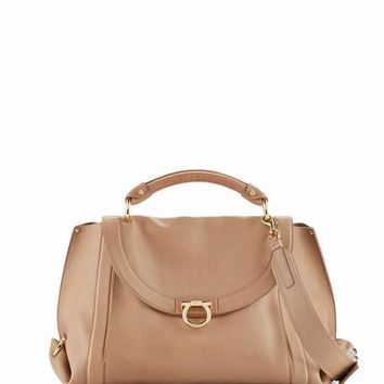 Salvatore Ferragamo Suzanna Medium Leather Satchel Bag, Yuta