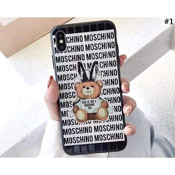 Moschino Tide brand bear print mobile phone case iPhone7/8plus all-inclusive protective cover #1