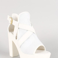 Leatherette Mesh Cross Strap Open Toe Platform Heel Size: 6, Color: White Pu