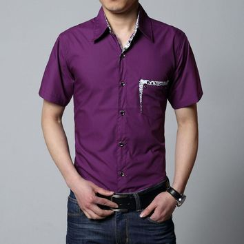 Men Shirts Turn-down Collar Slim Fit Oversized 8XL Chemise Homme Patchwork Pocket Button-up Summer Short Sleeve Casual Shirt