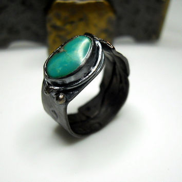 Kingman Turquoise Blackened Copper and Sterling Silver Salvage Look Ring - Relic