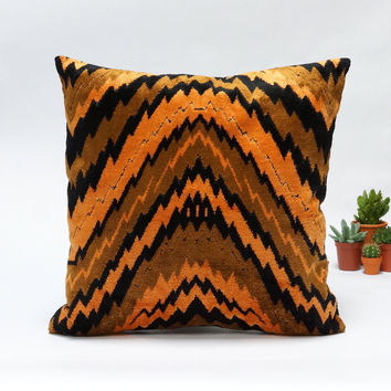 Mid Century Modern velvet upholstery fabric pillow cover  40x40 16x16 in orange and black