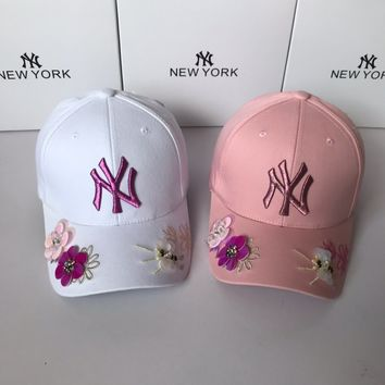 """New York Yankees"" Women Casual Fashion Letter Embroidery Flower Sun Baseball Cap Breathable Mesh Peaked Cap Sun Hat"