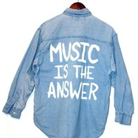 MUSIC IS THE ANSWER Vintage Denim Shirt (One of a Kind) - SMALL- 00815