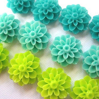 Magnet Set 12 pc Flower Magnets in Turquoise, Lime Green, Aqua Neodymium Magnets.. .Perfect for Housewarming and Hostess Gifts