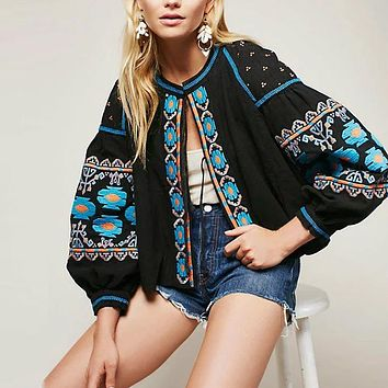 Floral embroidered  tassel long sleeve loose Casual hippie women tops and shirt