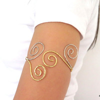 Upper arm cuff, two toned above the elbow armlet, mixed metal tribal armband