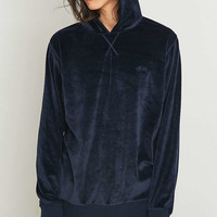 Stussy Navy Velour Hoodie - Urban Outfitters