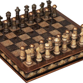 Benzara Unique Marble Chess Set With Game Board