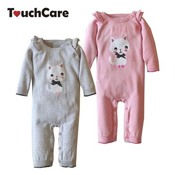 Cute Cartoon Cat Baby Rompers Winter Infant Long Sleeve Solid Kids Boy Girl Clothes Knitted Sweater Toddler Jumpsuit Outfits