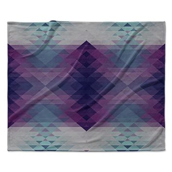 "Nika Martinez ""Hipsterland II"" Purple Teal Fleece Throw Blanket"