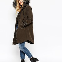 ASOS Parka in Wax Finish With Buckle Detail at asos.com