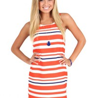 All Or Nothing Orange And Navy Striped Shift Dress | Monday Dress Boutique