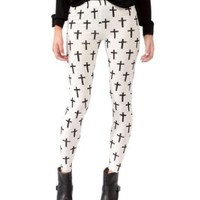 Simplicity Women Stripe Black Cross Print Religious Pattern Newest White Legging