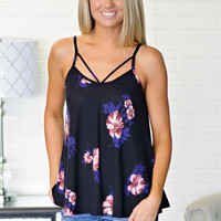 * Titiana Strappy Floral Tank - Black