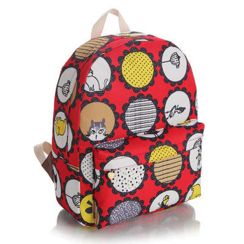 Lovely Canvas Cartoons Korean Red Cute Backpack = 4887855236