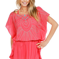 Sofia by ViX Solid Peach Butterfly Caftan