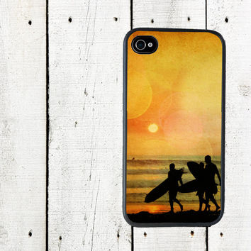 Sunset Surfers iPhone Case, Surfers Cell Phone Case - iPhone 5 Case - iPhone 4,4s - Gifts Under 25