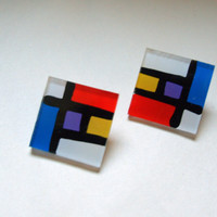 MOD Vntg. PIET MONDRIAN Style Vintage Cubism Colorblock Post Earrings Colorful Primary Colorblocking in Blue Red Yellow and Purple