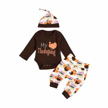 63ff724d968d2 Newborn Baby boys girls clothes My first Thanksgiving Letter pri