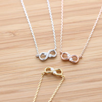 tiny&simple INFINITY necklace with crystal, 3 colors | girlsluv.it