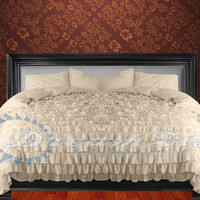1000TC Egyptian Cotton Ivory Ruffle Duvet Quilt Cover Set 3pc - Available in All Size