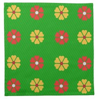 Cloth Napkin with Heart Flowers on Green