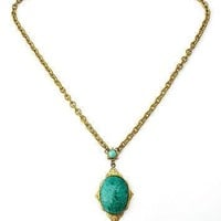 "Art Nouveau Green Mottled Rhinestone Lavalier Necklace 20"" Long"