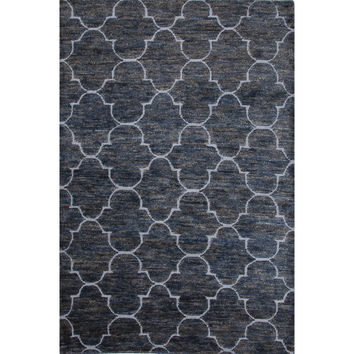 Jaipur Rugs Naturals Moroccan Pattern Blue Jute and Wool Area Rug ITH03 (Rectangle)