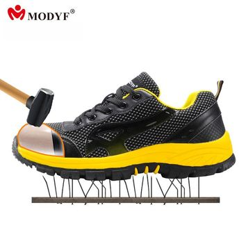 Modyf Men color steel toe cap work safety shoes mesh casual breathable outdoor boots puncture proof footwear(one size smaller)