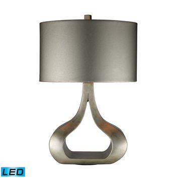 Carolina LED Table Lamp In Silver Leaf With Metallic Silver Shade Silver Leaf