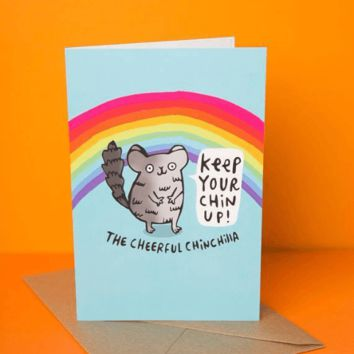 Cheerful Chinchilla Keep Your Chin Up Funny Happy Graduation Greeting Card FREE SHIPPING