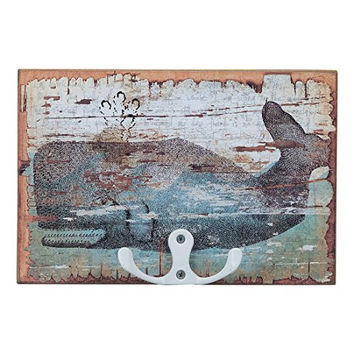Vintage Whale Print Key Hook 6-in x 4-in
