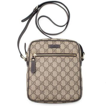 VONW3Q Gucci Flight bag Supreme GG Canvas Beige Ebony Brown Messenger Bag New