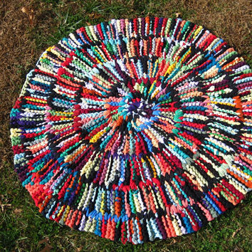 Upcycled T Shirt Rag Rug Bold Brights Circular by HandiworkinGirls