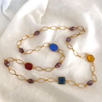 Cabochon gemstone and crystal necklace, gold tone chain and gemstone necklace, rope necklace, Mother's Day necklace, gemstone necklace