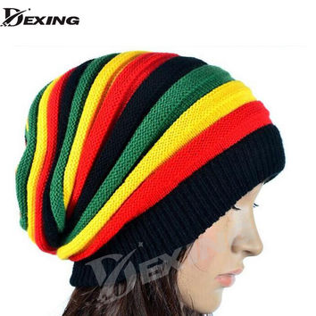 2016 new gorro reggae  unisex Gorro Slouchy Men's Women's Hats Cap Rasta Winter Hats For Women Men Beanie Balaclava Skull